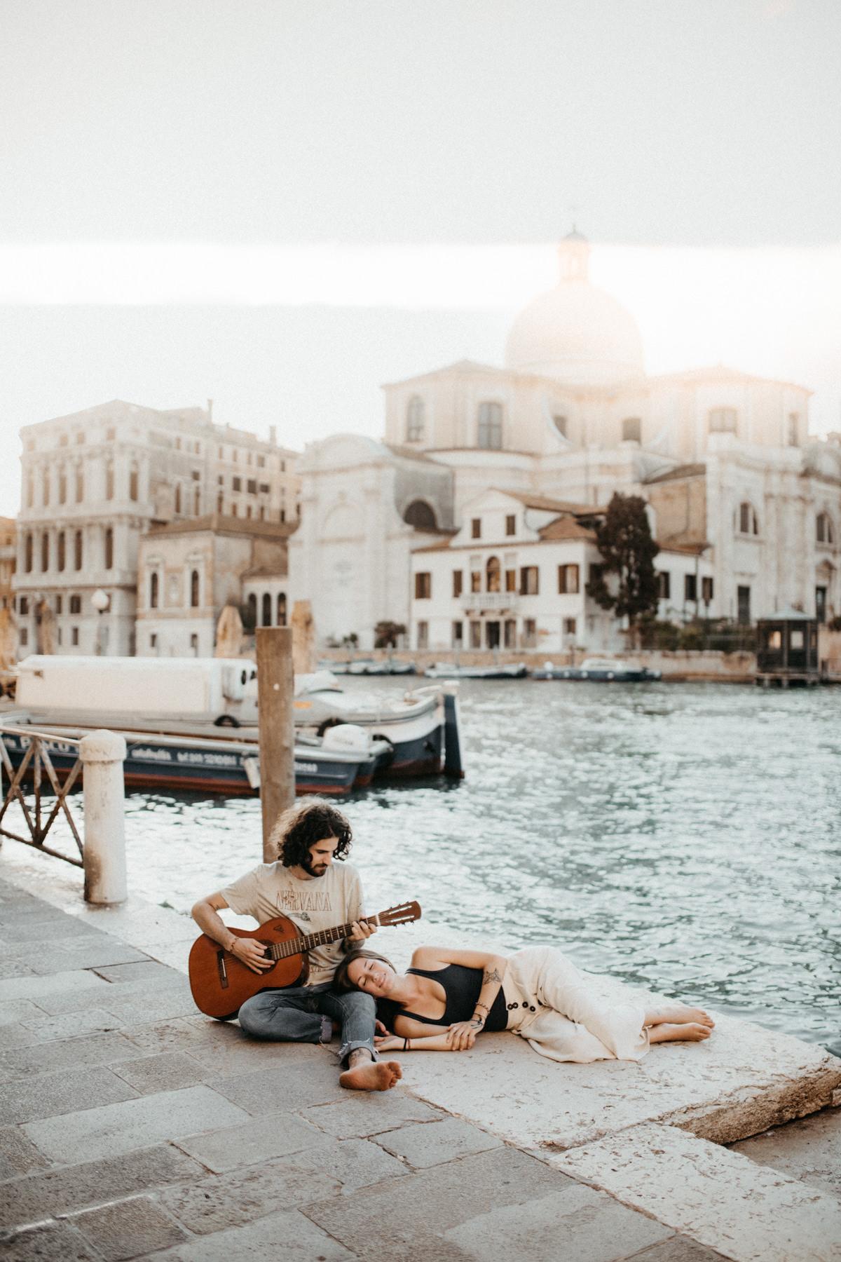 Venetian Sunsets With A Guitar by Venice Photographer Kinga Leftska